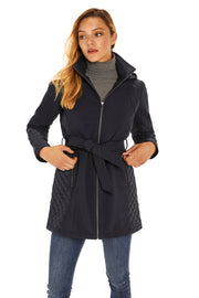 Women's Soft Shell and quilt trench coat navy back detail
