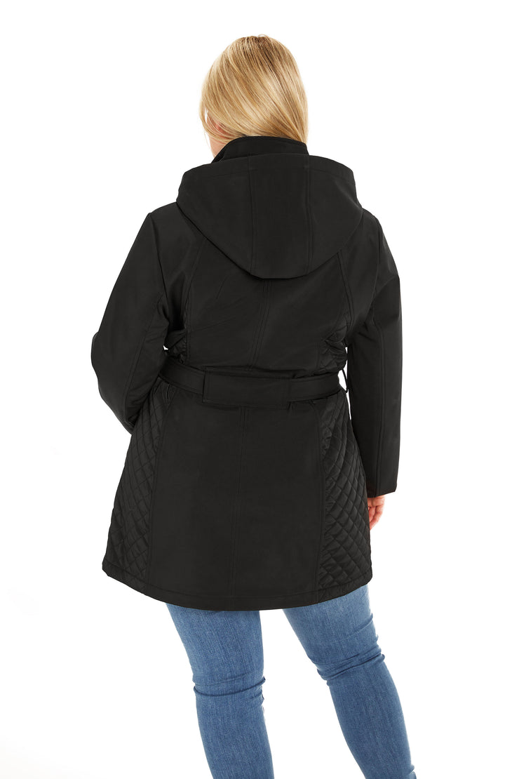 Soft Shell and quilt trench coat plus size black back
