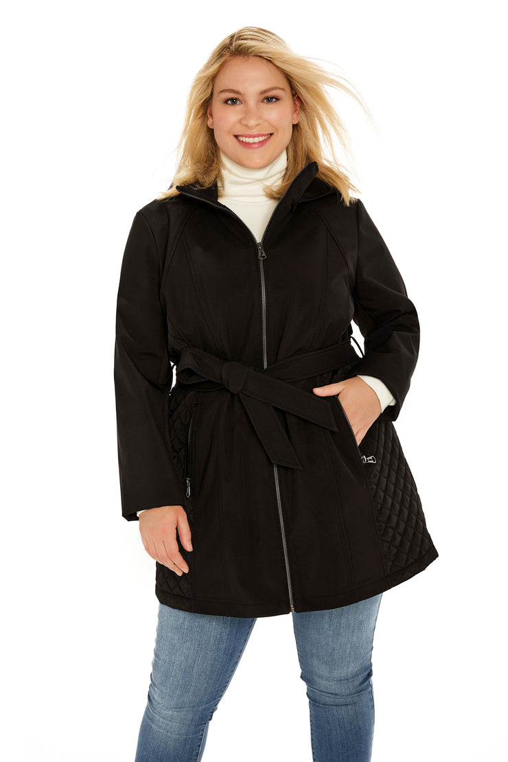Soft Shell and quilt trench coat plus size black front