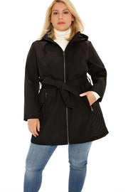 Soft Shell and quilt trench coat plus size black detail