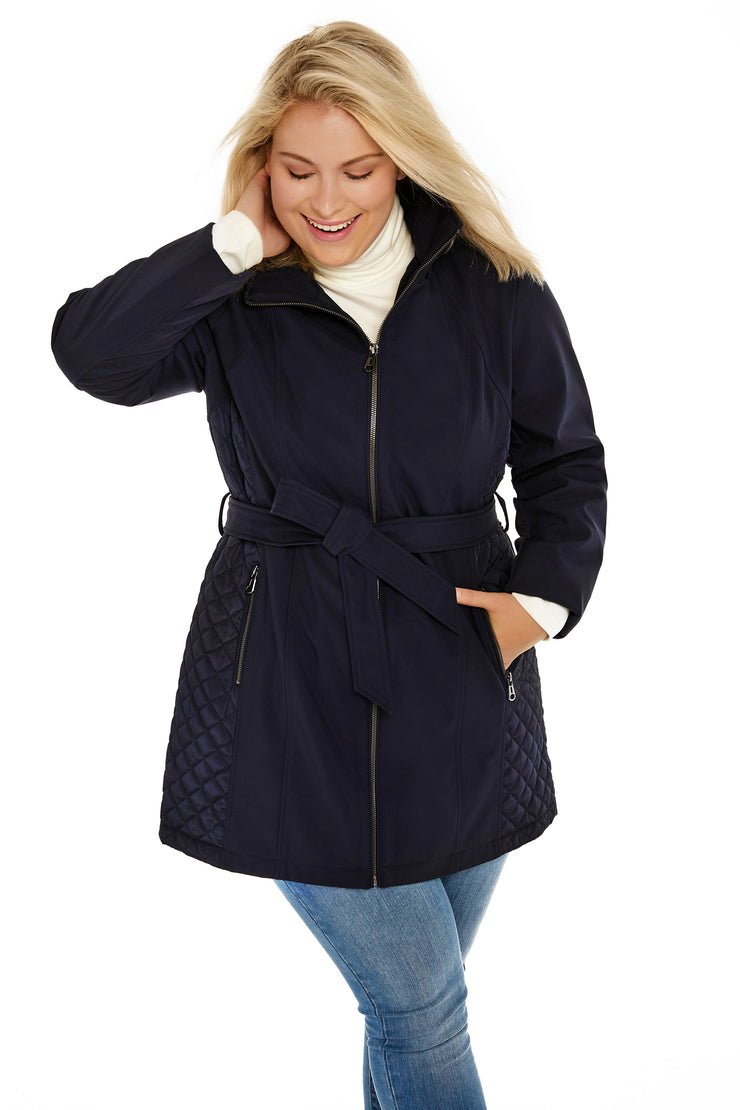 Soft Shell and quilt trench coat plus size navy detail