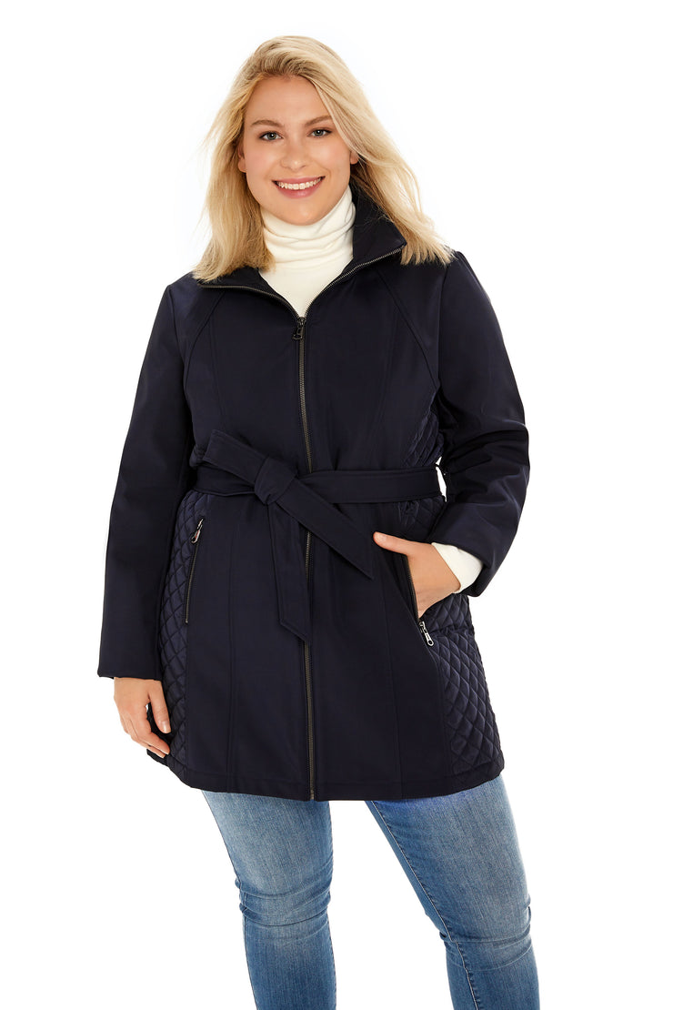 Soft Shell and quilt trench coat plus size navy front
