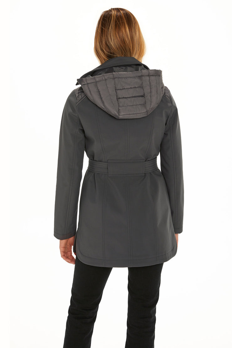 Women's Soft Shell moto coat graphite back