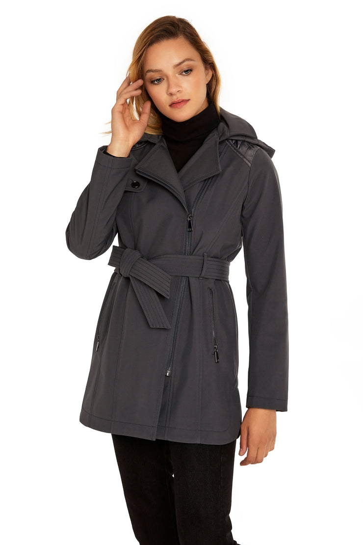 Women's Soft Shell moto coat graphite front