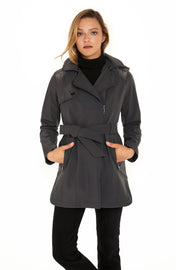 Women's Soft Shell moto coat graphite detail
