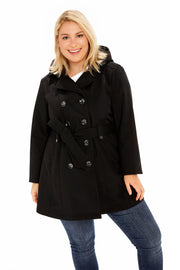 Plus Size Soft Shell plus size trench coat black detail