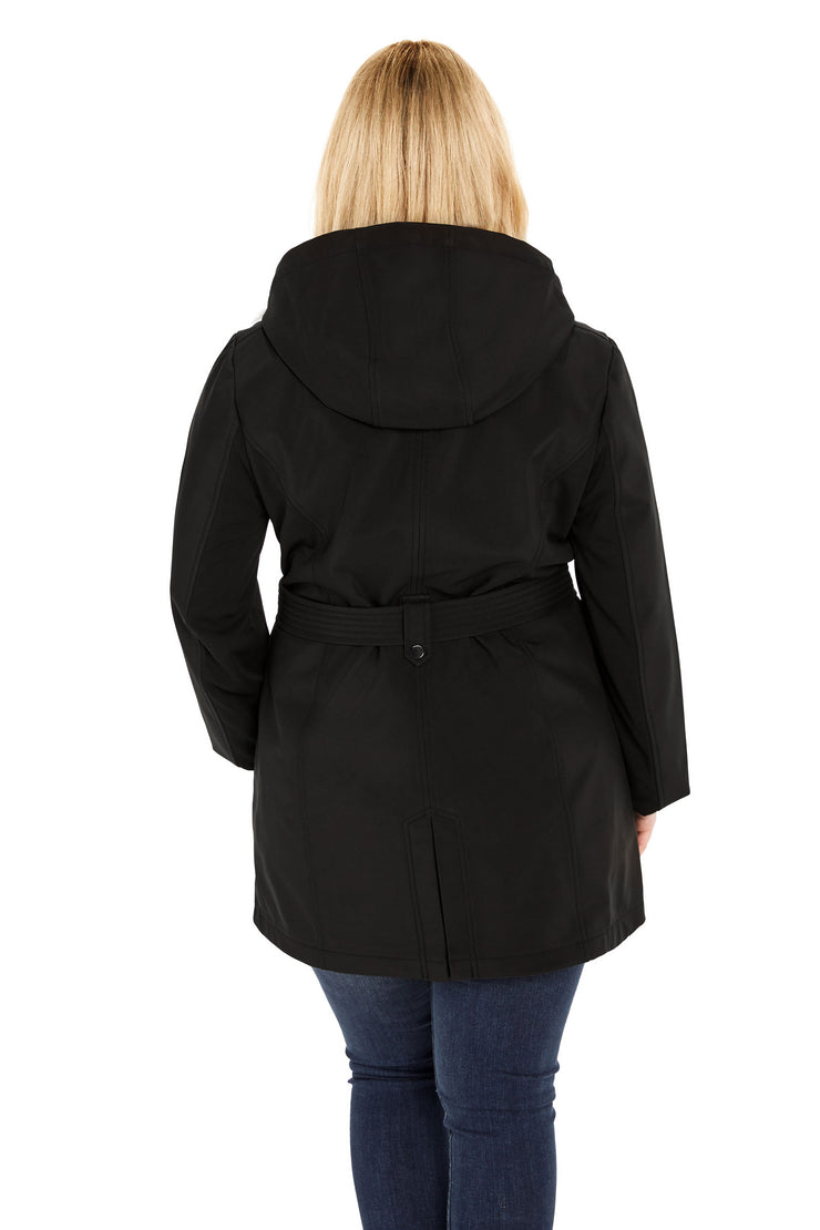 Plus Size Soft Shell plus size trench coat black back