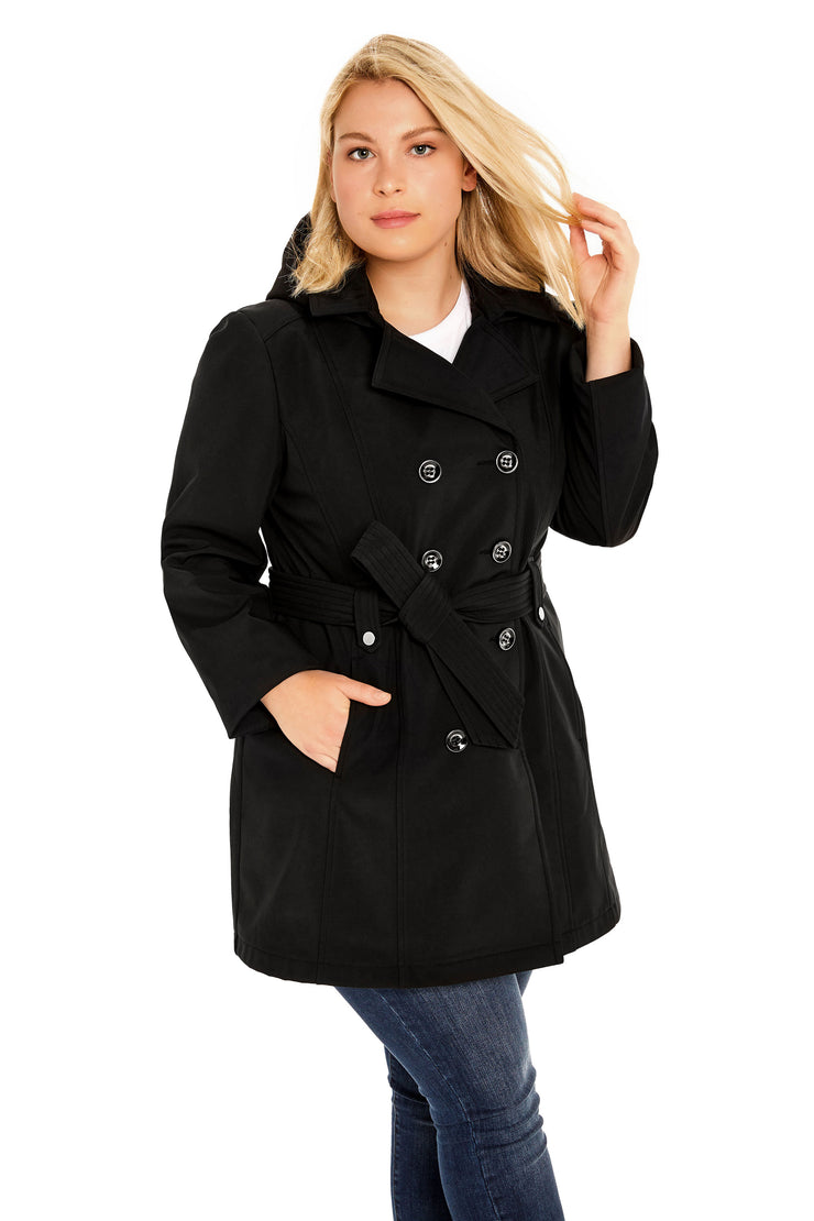 Plus Size Soft Shell plus size trench coat black front