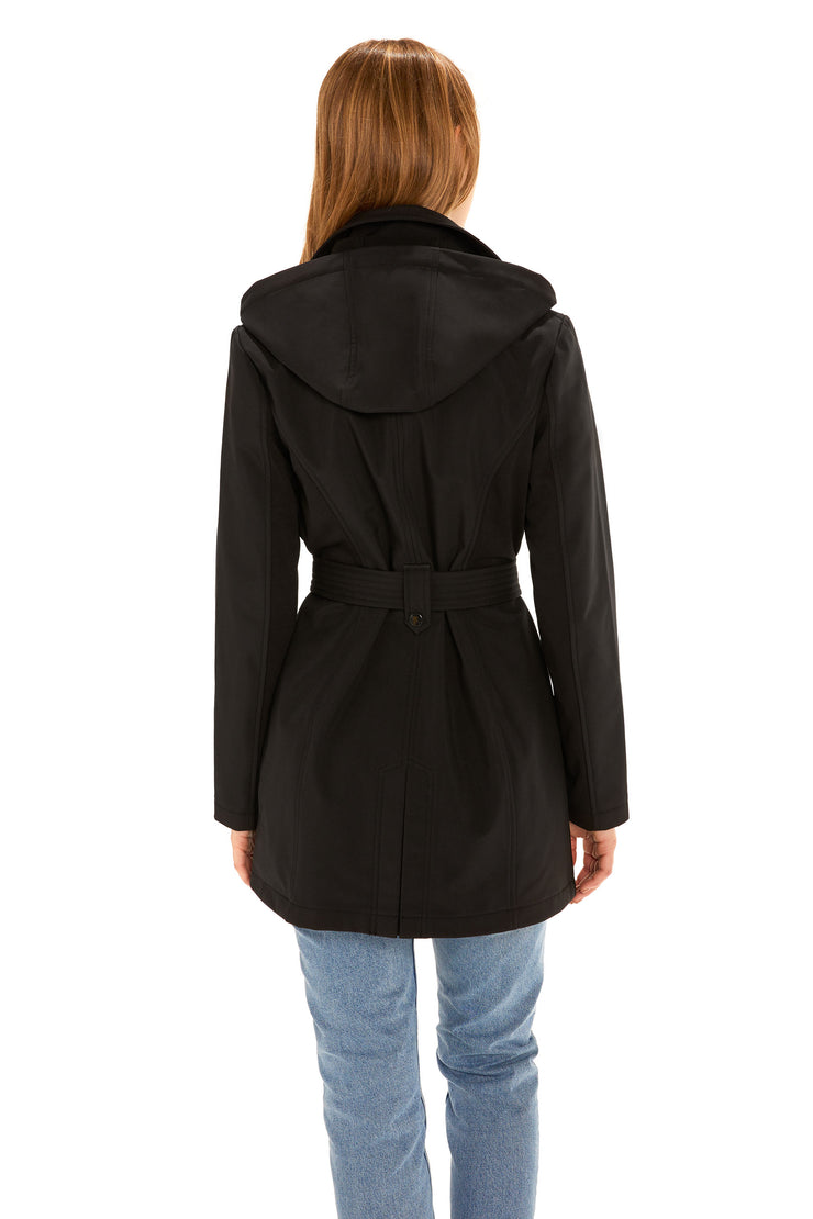 Women's Soft Shell trench coat black back