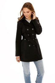 Women's Soft Shell trench coat black detail