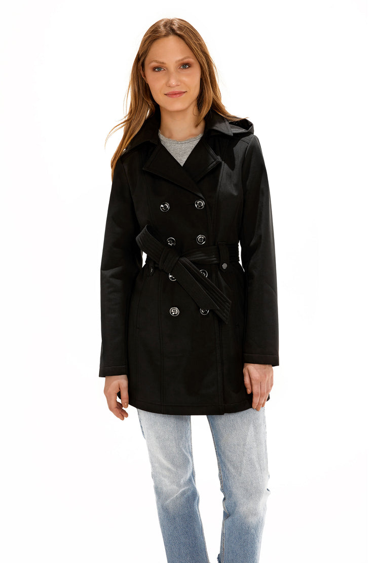 Women's Soft Shell trench coat black front
