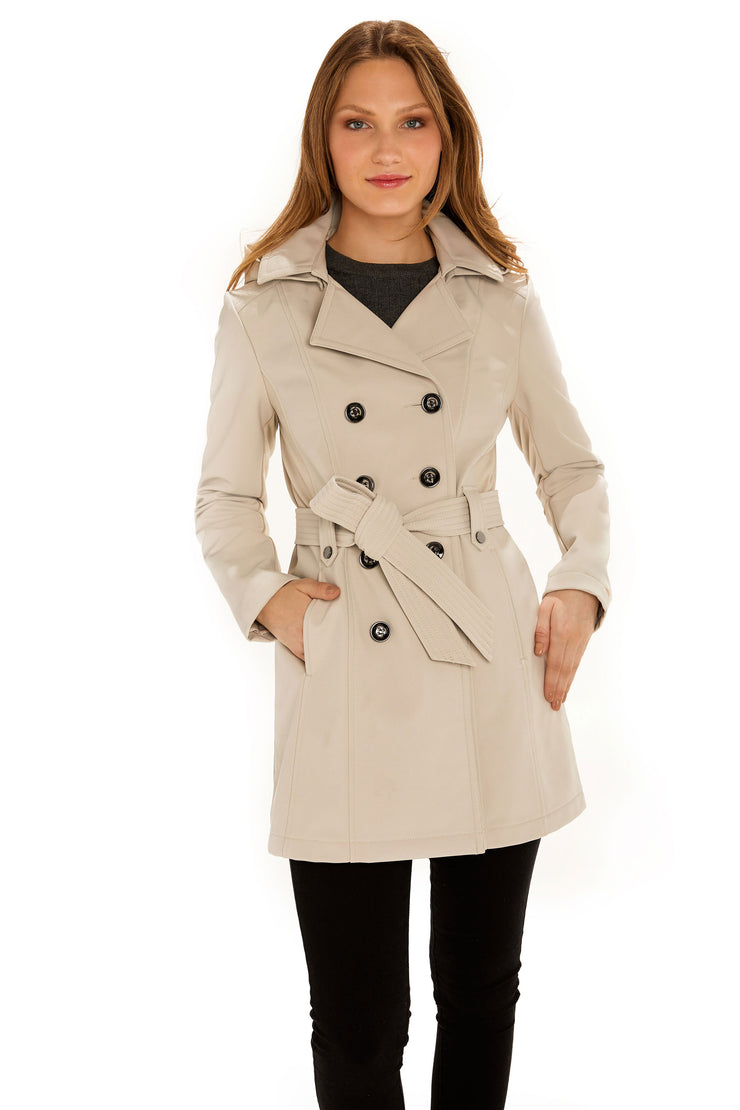 Women's Soft Shell trench coat stone front