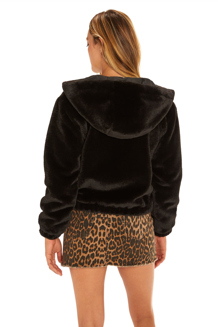 Juniors' Faux Fur hooded jacket black back
