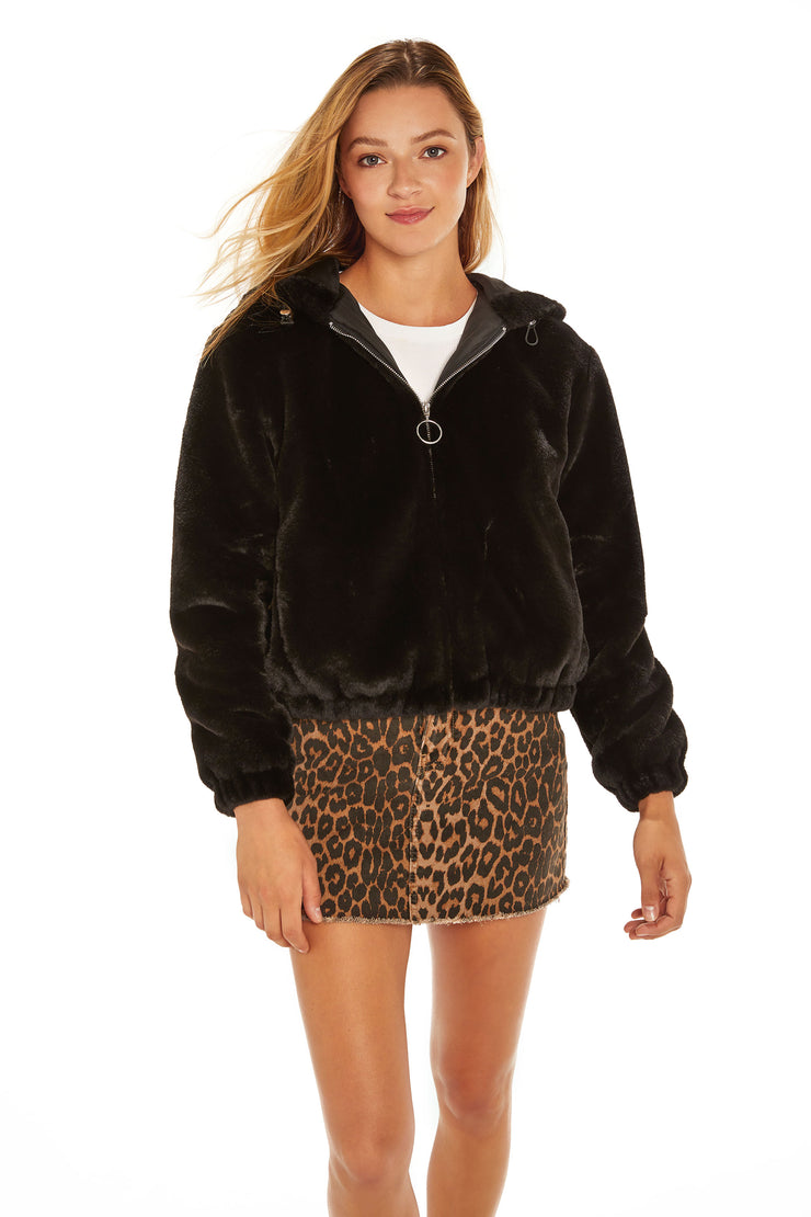 Juniors' Faux Fur hooded jacket black front