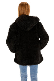 Hooded Curly Faux Fur Jacket back