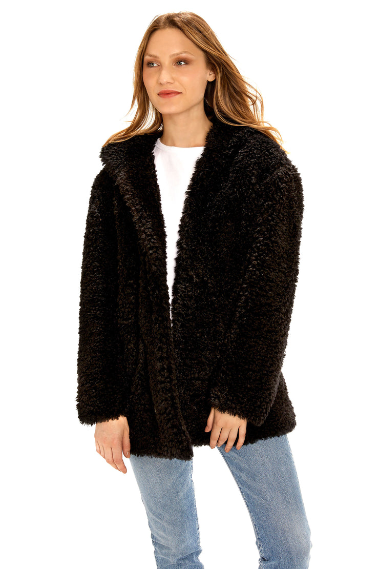 Women's Hooded curly faux fur jacket black detail