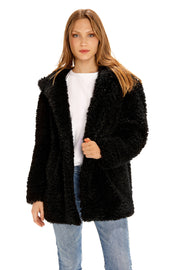 Women's Hooded curly faux fur jacket black front