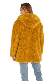 Women's Hooded curly faux fur jacket mustard back