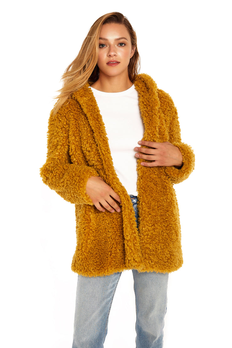Women's Hooded curly faux fur jacket mustard detail