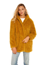 Women's Hooded curly faux fur jacket mustard front