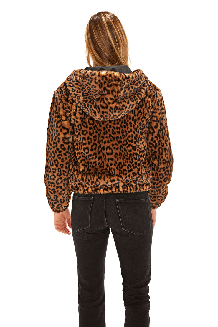 Juniors' Faux Fur hooded jacket leopard back
