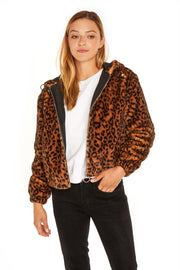 Juniors' Faux Fur hooded jacket leopard open detail