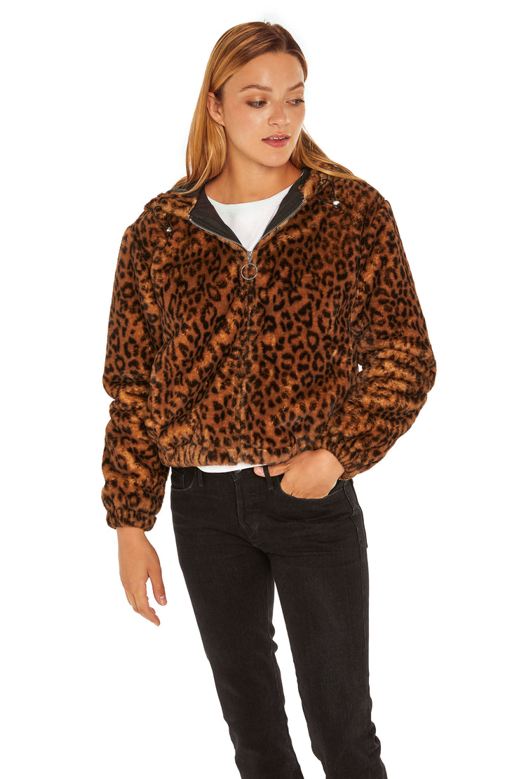 Juniors' Faux Fur hooded jacket leopard detail