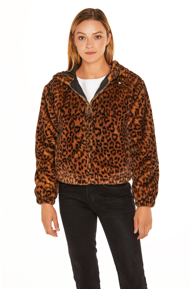 Juniors' Faux Fur hooded jacket leopard front