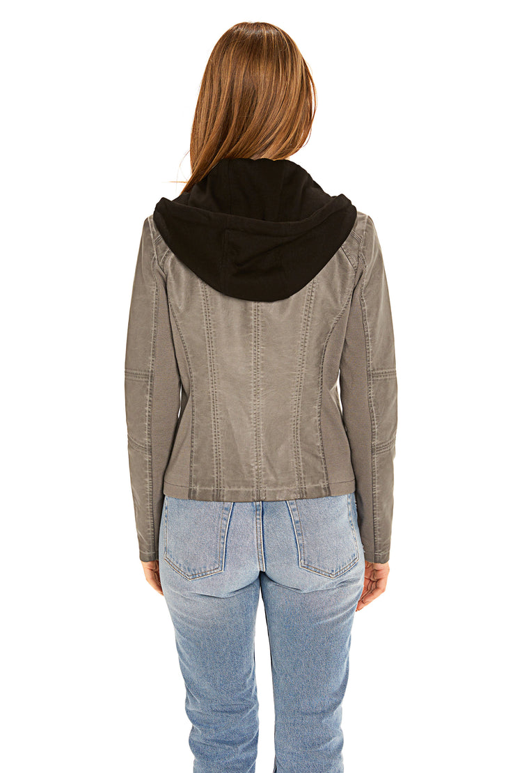Women's Faux Leather jacket with fleece hood light grey back