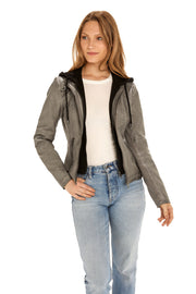 Women's Faux Leather jacket with fleece hood light grey detail