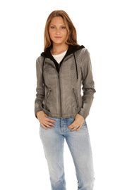 Women's Faux Leather jacket with fleece hood light grey front