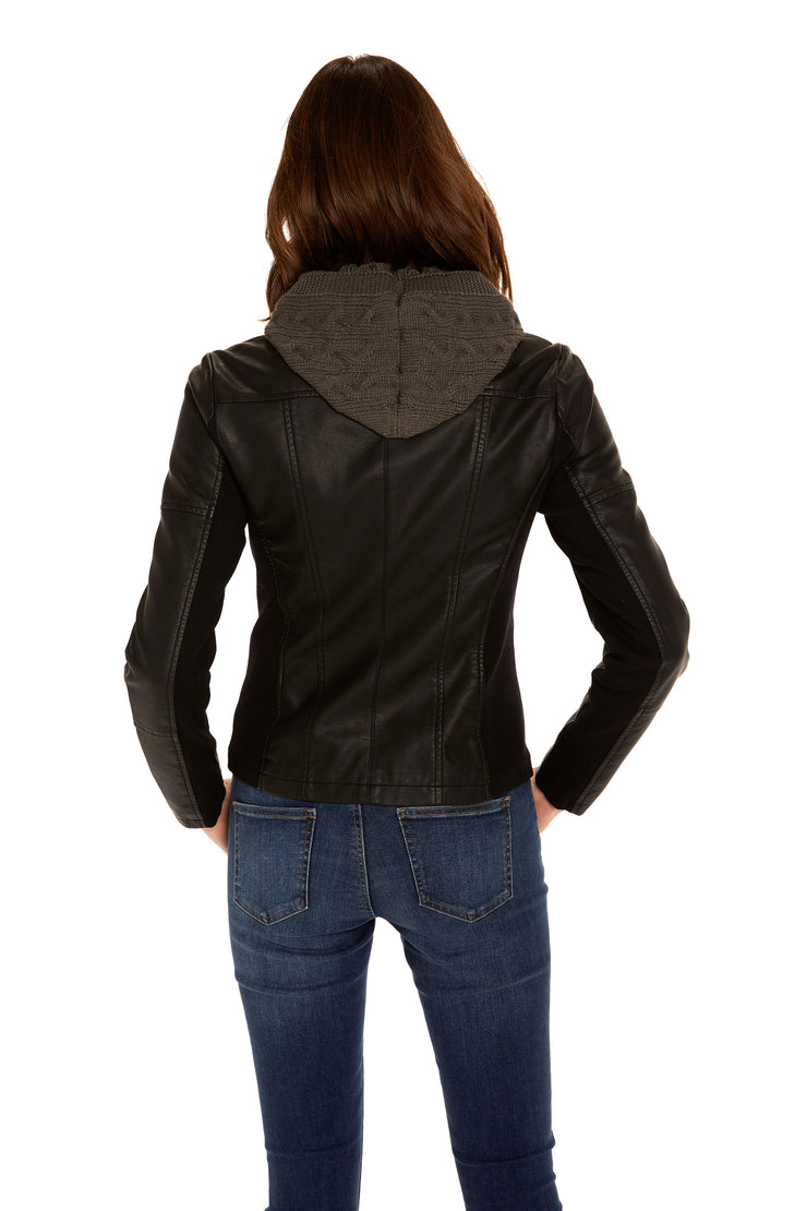 Women's Faux Leather hooded jacket black back