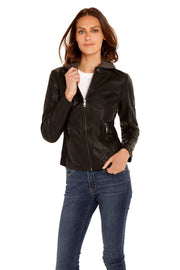 Women's Faux Leather hooded jacket black detail