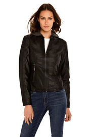 Women's Faux Leather hooded jacket black front