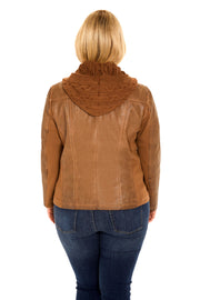 Plus Size Faux Leather hooded plus size jacket walnut back