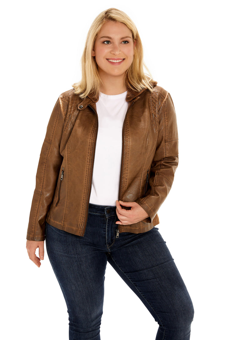 Plus Size Faux Leather hooded plus size jacket walnut detail