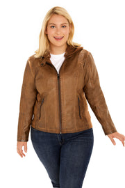 Plus Size Faux Leather hooded plus size jacket walnut front