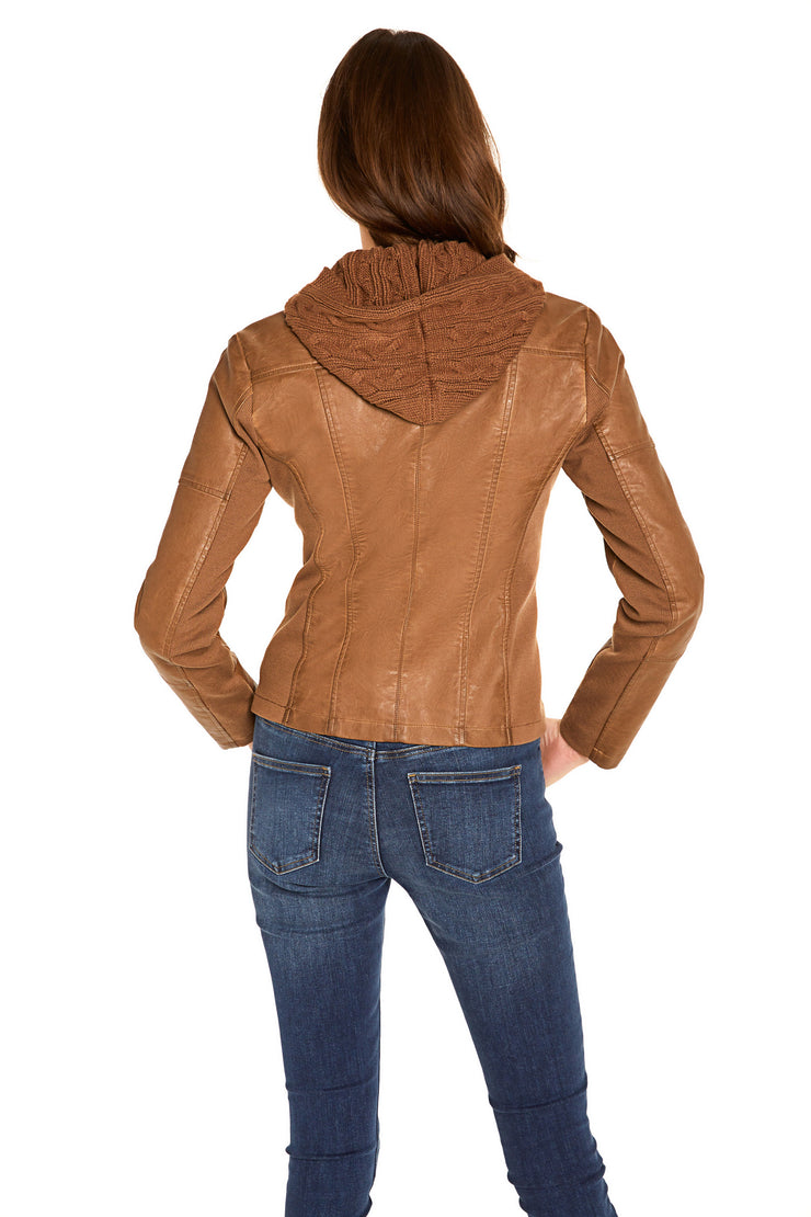 Women's Faux Leather hooded jacket walnut back