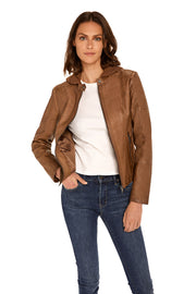 Women's Faux Leather hooded jacket walnut detail