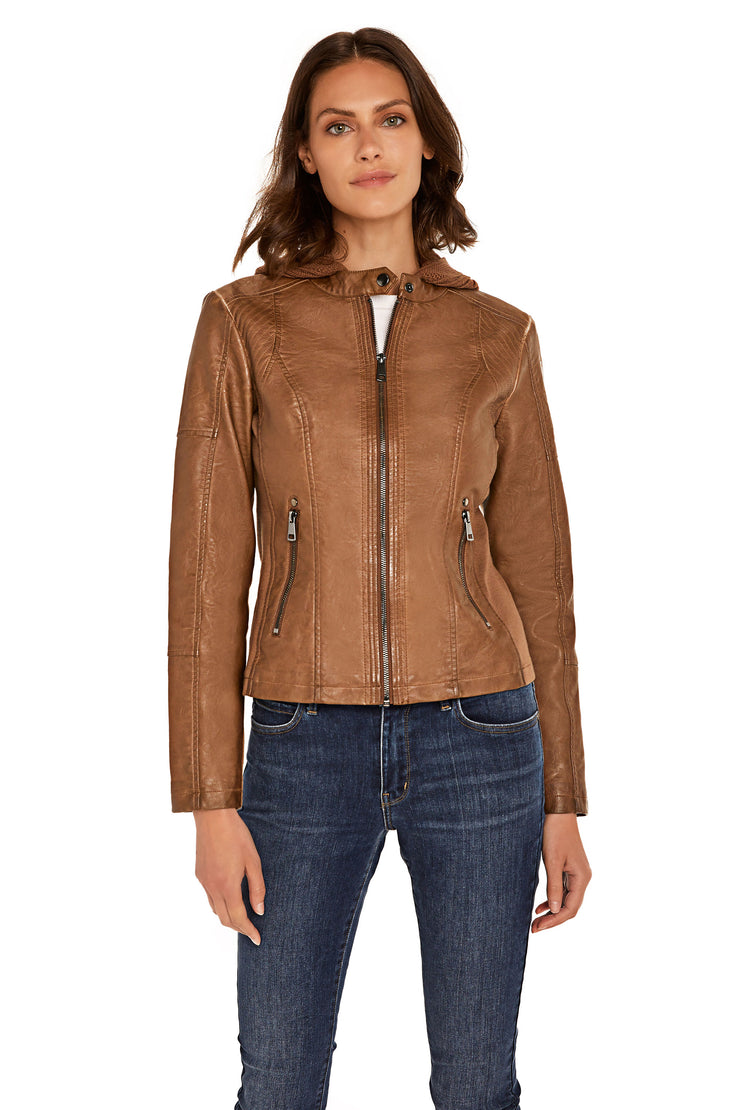 Women's Faux Leather hooded jacket walnut front