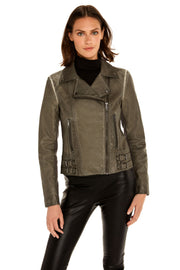 Women's Faux Leather moto jacket grey front