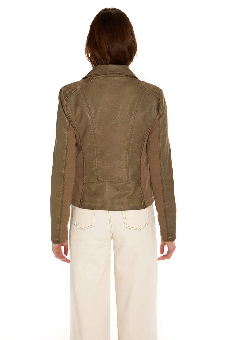 Women's Faux Leather moto jacket taupe back