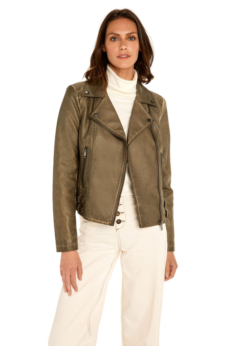 Women's Faux Leather moto jacket taupe detail