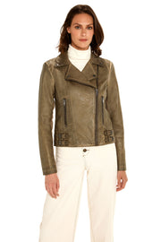 Women's Faux Leather moto jacket taupe front