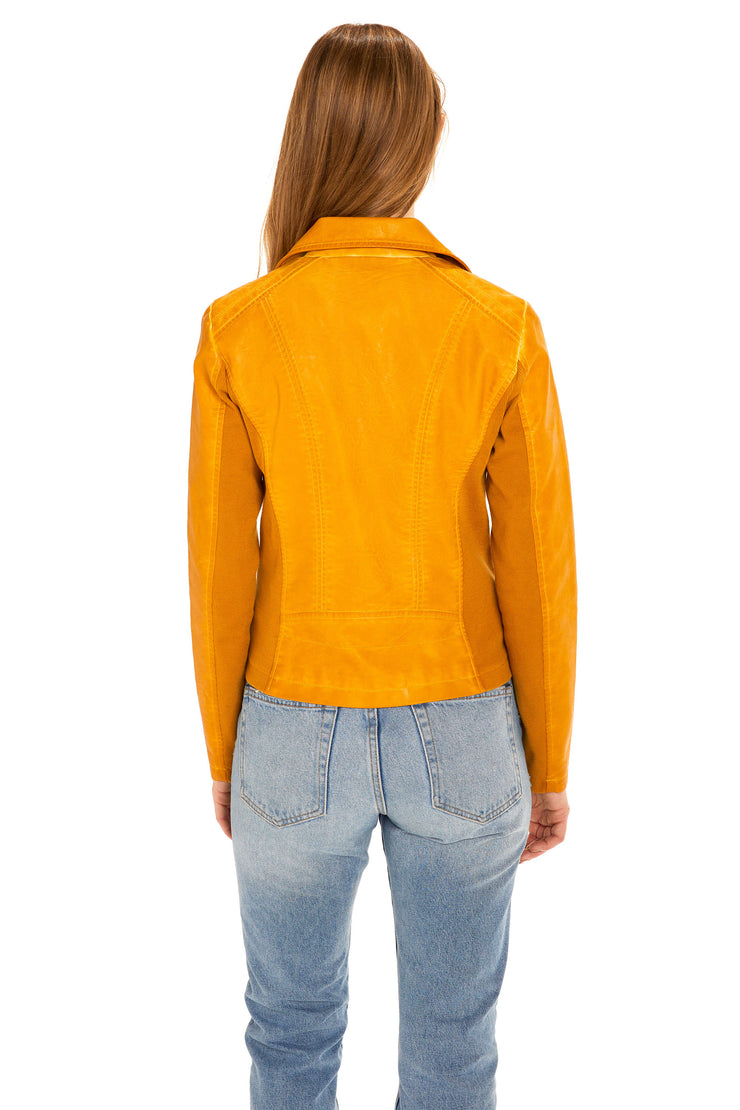Women's Faux Leather moto jacket yellow back