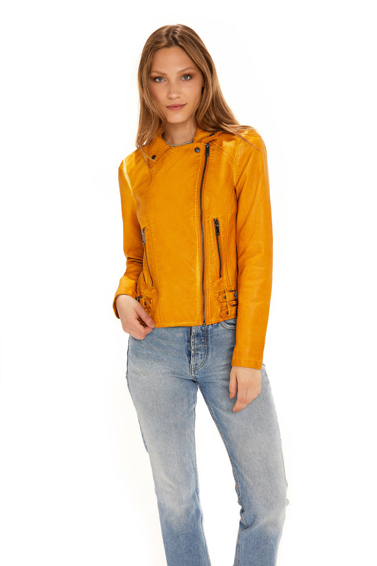 Women's Faux Leather moto jacket yellow detail