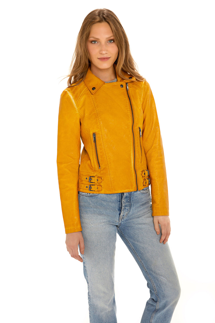 Women's Faux Leather moto jacket yellow front