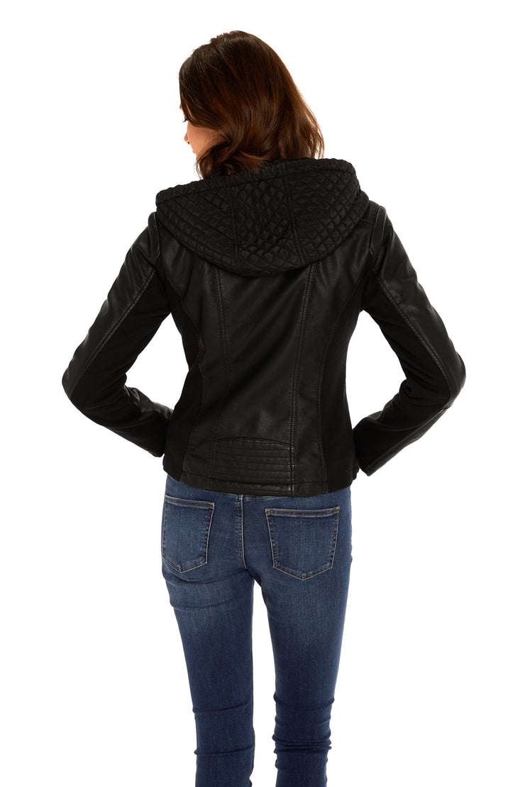 Women's Faux Leather quilted hood jacket black back