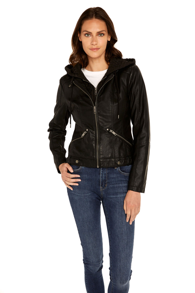 Women's Faux Leather quilted hood jacket black detail