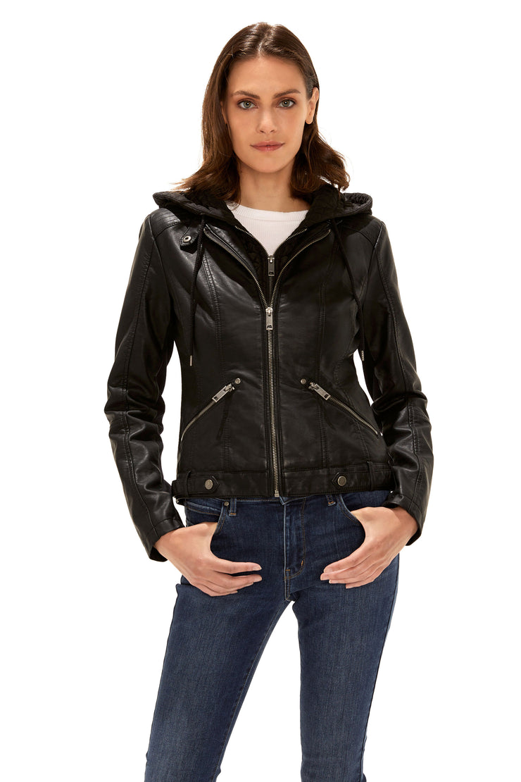 Women's Faux Leather quilted hood jacket black front